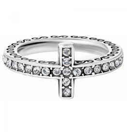 Brighton Silver Starry Night Cross Ring - 9