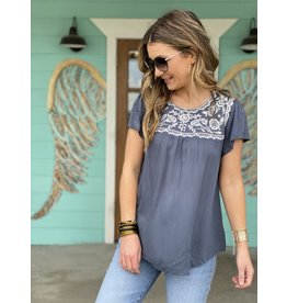 Charcoal Top w/White Embroidery