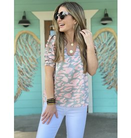 Grey & Pink Ruched Sleeve Top