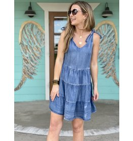 Chambray Tiered Dress w/Shoulder Ties