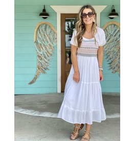 White Smocked Bodice w/Embroidered Detail Dress