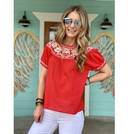 Strawberry Coral Top w Embroidery