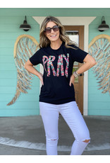 Floral Pray Graphic Tee in Black
