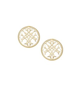 Natalie Wood Circle Logo Stud Earrings - Gold