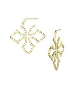 Natalie Wood Grace Cross Hoop Earring - Gold