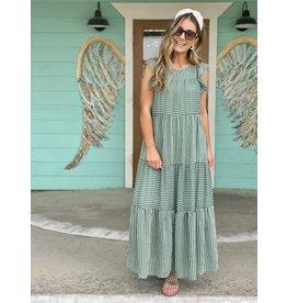 Green Striped Tiered Maxi Dress