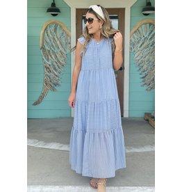 Blue Striped Teiered Maxi Dress
