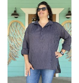 Navy Striped Cotton Tunic Top