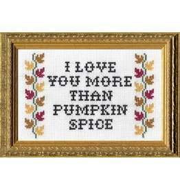 I Love You More than Pumpkin Spice Deluxe Cross Stitch Kit