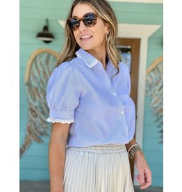 Light Blue Stripe Lace Sleeve Detail Top