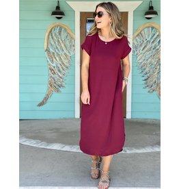 Burgundy Rib Knit Maxi Dress