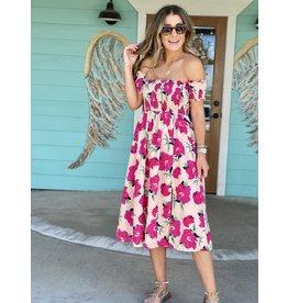 Pink Floral Smocked Off Shoulder Dress
