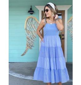 Blue Contrast Midi Dress