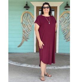 Burgundy Rib Knit Plus Maxi Dress