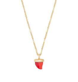 Kendra Scott Oleana Pendant Necklace Gold Red Pearl