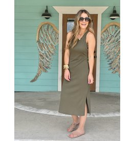 Olive Rib Knit Racer Back Dress