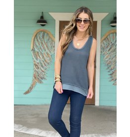 Waffle Knit Tank in Teal