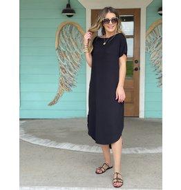 Black Wide Rib Knit Maxi Dress