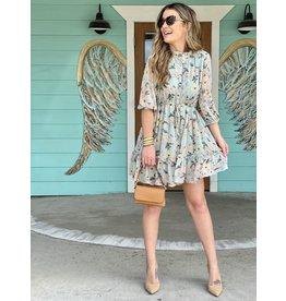 Sage Floral Print Dress w/Tie Waist