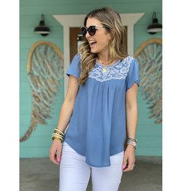 Denim Blue Top w/White Embroidery
