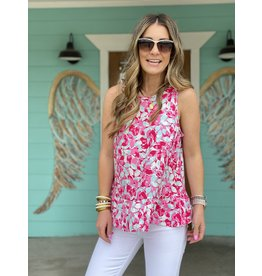 Pink & Aqua Floral Sleeveless Top