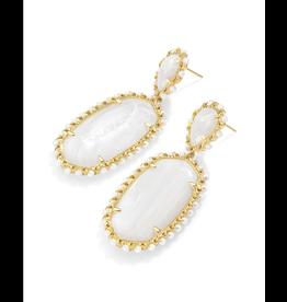 Kendra Scott Parsons Earrings Gold White Pearl