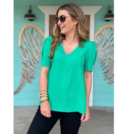 Kelly Green V Neck Puff Sleeve Top