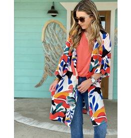 Coral/Blue Multi Print Kimono