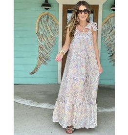 Blush Multi Foil Print Tie Maxi Dress