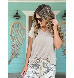 Shimmery V-Neck Cap Sleeve Top - Tan One Size