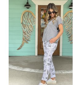 Cropped Camo Pants in Grey Combo - One Size