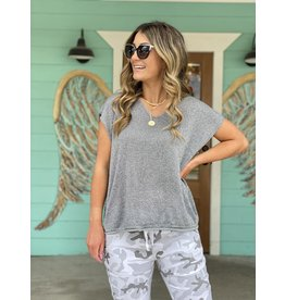 Shimmery V-Neck Cap Sleeve Top - Grey One Size