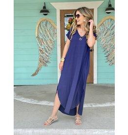 Short Sleeve Maxi Dress - Navy