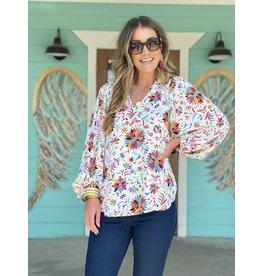 Multi Floral Print V-Neck Bubble Sleeve
