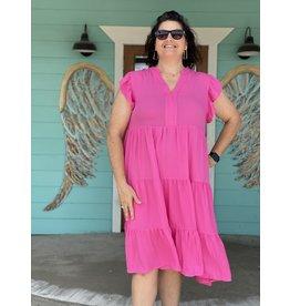 Hot Pink Tiered Plus Midi Dress