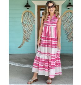 Hot Pink & White Print Sleeveless Tiered Dress
