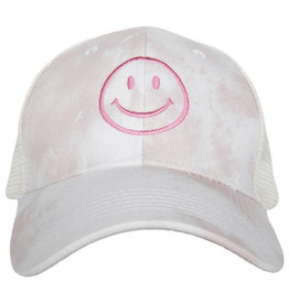 Pink Smiley Embroidered Hat