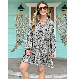 Sage Green Leopard Flounce Dress