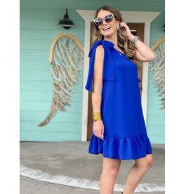 Royal Blue One Shoulder Ruffle Dress