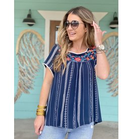 Navy Patterned Stripe Embroidered Top