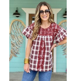 Maroon Plaid Embroidered Flutter Sleeve Top