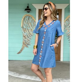 Denim Dress w/Rust and White Embroidered Design