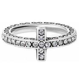 Brighton Silver Starry Night Cross Ring - 10