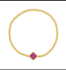 Kendra Scott Mallory Stretch Bracelet Gold Plum Opal