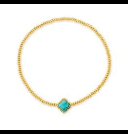 Kendra Scott Mallory Stretch Bracelet Gold Variegated Turq