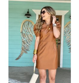 Faux Leather Dress in Camel