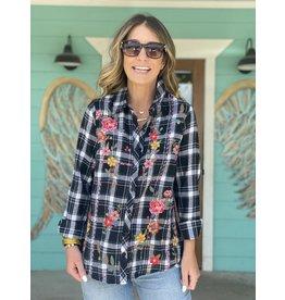 Black Plaid Embroidered Button Down Shirt