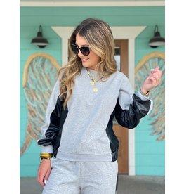 Heather Grey w/Black Faux Leather Sweatshirt