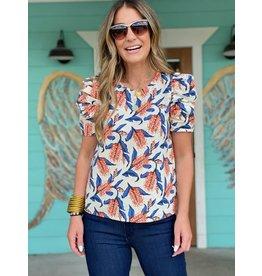 Orange Blue Floral Print Puff Sleeve Top