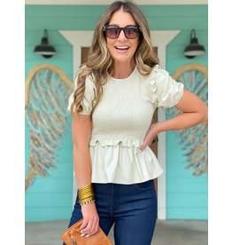 Faux Leather Smocked Top in Cream